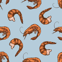 Seamless pattern with hand drawn colored shrimp