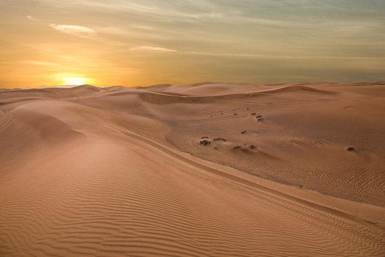 Sand dessert sunset landscape view, UAE