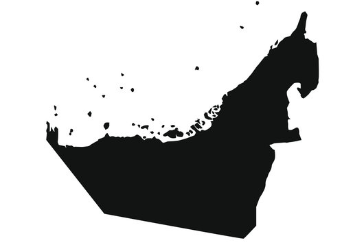 political map of country of united arab emirates
