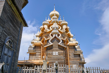 Scenic view of wooden orthodox church of  Transfiguration of the Lord on Kizhi island on Onezhsky lake in Russian Federation. Beautiful summer look of traditional temple of russian North in Karelia