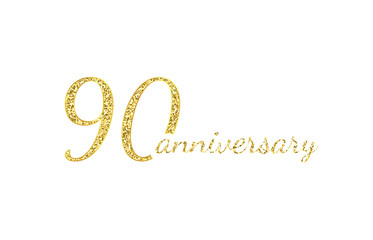 90 anniversary logo concept. 90th years birthday icon. Isolated golden numbers on black background. Vector illustration. EPS10.