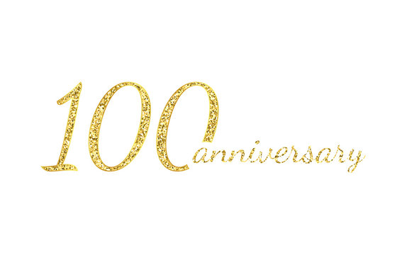 100 anniversary logo concept. 100th years birthday icon. Isolated golden numbers on white background. Vector illustration. EPS10.