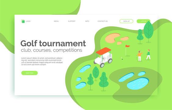 Golf tournament, courses, competition, school web site, landing page, presentation, layout, app, banner.