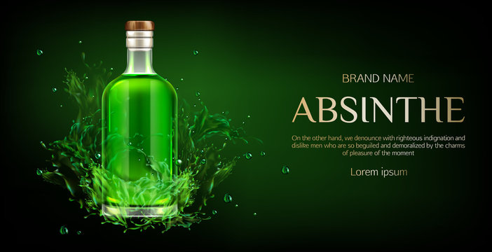 Absinthe bottle mock up banner, blank glass flask with green liquid mockup, strong alcohol drink on dark background with liquid splash and drops, advertising design. Realistic 3d vector illustration