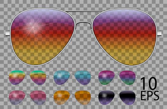 Set glasses.Police drops aviator shape.transparent different color.sunglasses.3d graphics.rainbow chameleon  pink  blue  purple  yellow  red  green  orange  black.unisex women men