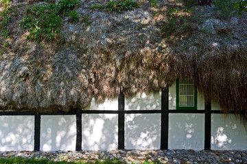 Laesoe / Denmark: Shadows on the wall of an old half-timbered cottage with a seaweed roof