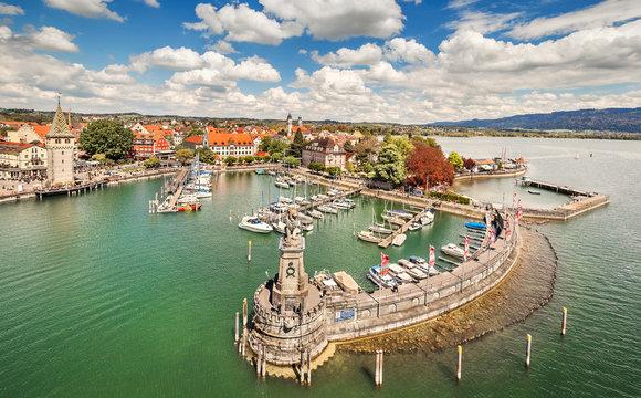 Harbor on Lake Constance in Lindau, Bavaria, Germany