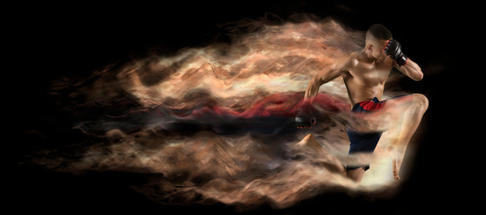 Martial arts fighter (MMA) jumping – Image