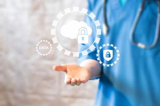 Doctor pressing button gear data protection cloud healthcare in medicine.