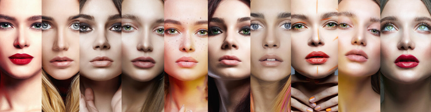 female faces. collage of beautiful women