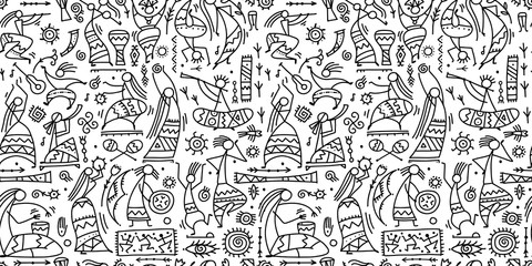Folk ethnic dance, seamless pattern for your design