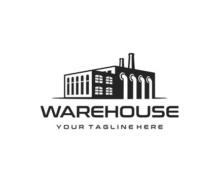 Industrial manufacturing building logo design. Industrial factory and warehouse vector design. Industrial production logotype