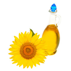 Fototapete - Creative idea flower of a sunflower and oil glass bottle isolated on white background. Food, cooking, farm work. Agriculture, organic. Flat lay, top view