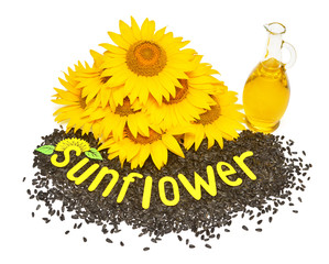 Fototapete - Creative idea flower of a sunflower, seeds and oil glass bottle isolated on white background. Lettering with yellow letters from the application. Food, cooking, farm work. Organic. Flat lay, top view
