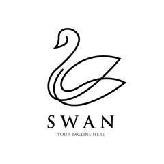 swan line art logo design , luxury , spa