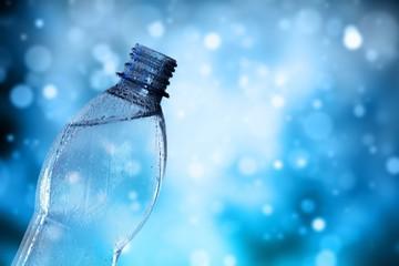 Water bottle splash on background
