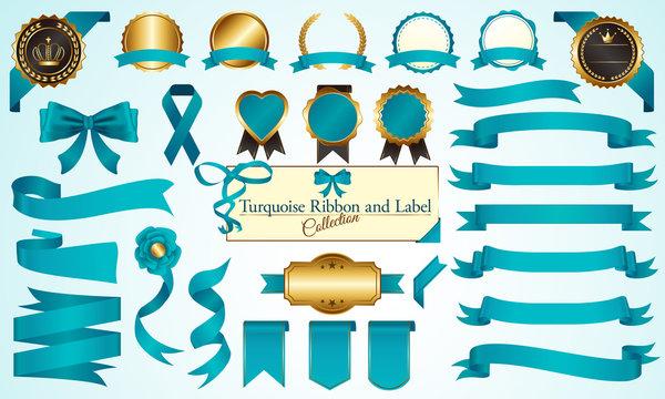 メダル&リボンセット ターコイズブルー