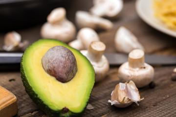 avocado on cutting board