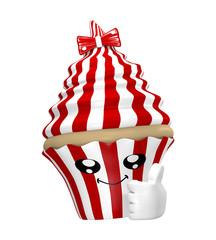 lustiges Cupcake Emoticon im Kawaii Stil mit OK Zeichen.