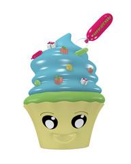Lustiges Kawaii Emoticon als Cupcake für den Geburtstag.