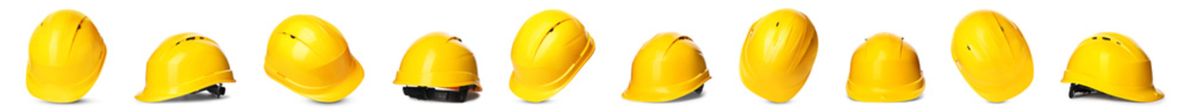 Set of yellow hardhats on white background. Banner design