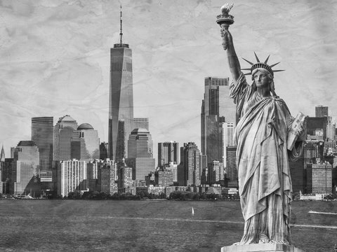 Statue of Liberty next to the Manhattan skyline, black and white and textured with old, crumpled and stained paper