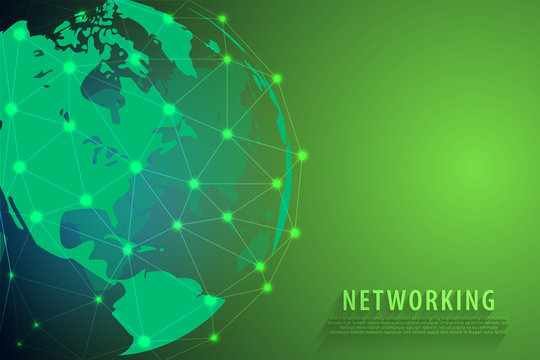 Global network connection background, green world map, vector