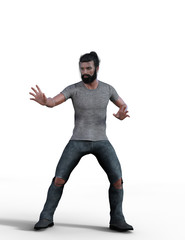 Hot guy with man bun in jeans and t-shirt. 3d renderings. 3d illustrations.