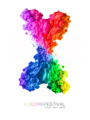 Explosion of rainbow colored acrylic ink in water. Festival of colors