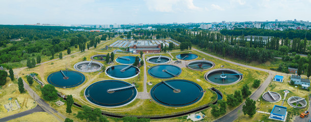 Modern sewage treatment plant, aerial view from drone