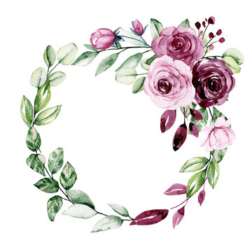Wreath, floral frame, watercolor flowers roses. Isolated on white background. Perfectly for greeting card, wedding invite design. Illustration hand painting.