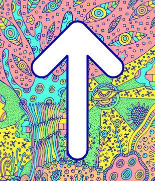Ancient scandinavic rune teiwaz with doodle ornament background. Colorful psychedelic fantastic mystical artwork. Vector illustration
