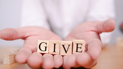 Give, Motivational Words Quotes Concept