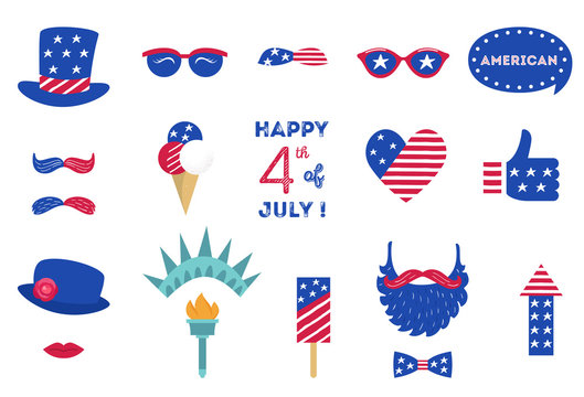 USA Independence Day 4 th of July Photo Booth Party Props of American Symbols