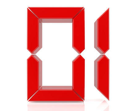 Red digital numbers 01 on white background 3d rendering