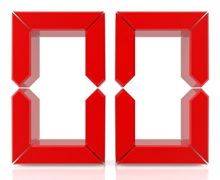 Red digital numbers 00 on white background 3d rendering