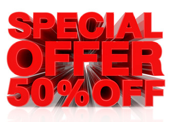 SPECIAL OFFER 50% OFF word on white background 3D rendering