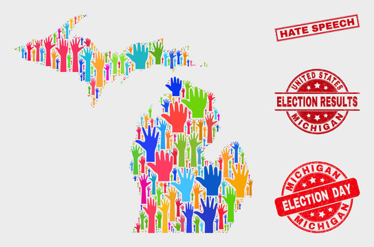 Democrat Michigan State map and watermarks. Red rectangular Hate Speech distress seal. Colored Michigan State map mosaic of upwards referendum hands. Vector composition for election day,