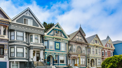 Row of Beautiful Victorian Homes - San Francisco, CA Wall mural