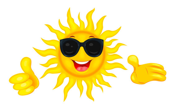 Happy sun in sunglasses. A merry cartoon sun in protective glasses from the sun. A cheerful cartoon sun on a white background. Smiling sun and hands with a finger raised up