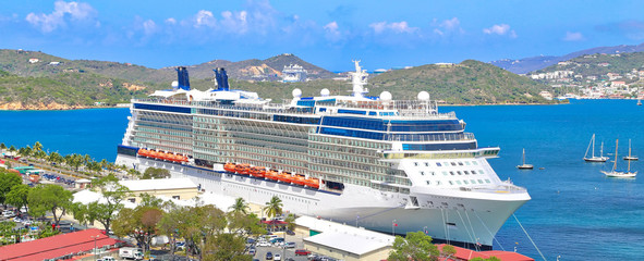 Cruise ship docked near Saint Thomas Island on a Caribbean Vacation cruise