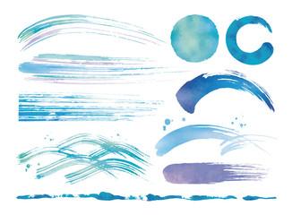 水彩の筆と波青いセット