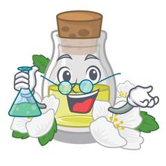 Professor jasmine oil bottle above mascot table