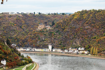 View from the left bank to Loreley, Germany