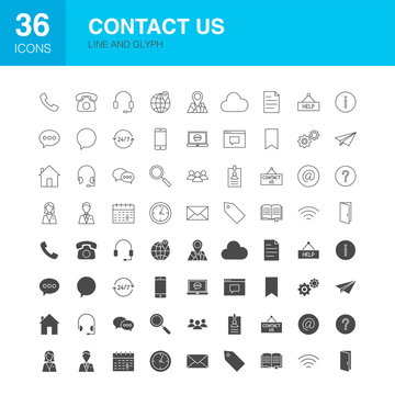 Contact Us Line Web Glyph Icons