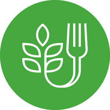 Farm To Fork Fresh Food Outline Icon