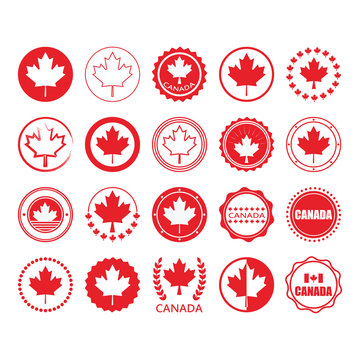 Red Canada flag and maple leaf sign circle emblems and stamps design elements set on white background