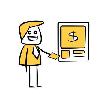 doodle businessman using money machine ATM