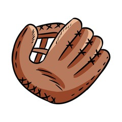 Hand drawn doodle of baseball glove. Cartoon style drawing, for posters, decoration and print. Vector illustration