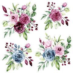 Watercolor floral set with bouquets flowers. Pink, blue and purple roses hand drawing. Isolated on white. Perfectly for print design greeting card, banner, wedding decoration, poster, invitation.
